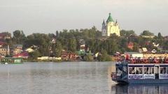 Alexander Nevsky Church and pond in Nizhny Tagil Stock Footage