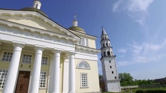 Panoramic video of The Old Believers' church and Leaning Tower in Nevyansk Stock Footage