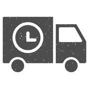 Shipment Schedule Van Icon Rubber Stamp Stock Illustration