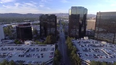 Aerial View of AIG building and other buildings Stock Footage