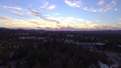 Aerial View of park with sun setting Stock Footage