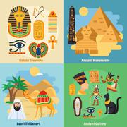 Egypt Concept Icons Set Stock Illustration