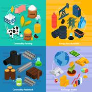 Commodity Concept Icons Set Stock Illustration