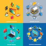 Financial Isometric Icons Square Composition Stock Illustration