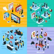 Media Network Isometric Template Stock Illustration