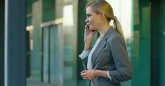 Business Woman Mobile Phone Conversation Outdoors Stock Footage