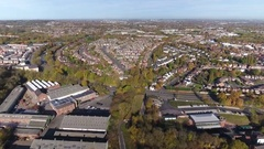 Aerial view of dudley looking out towards Wolverhampton. Stock Footage
