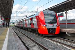 Moscow, Russia-October 01.2016. Train Swallow arrives at the station Shelepih Stock Photos