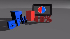 Blue & Red Comparing diagram charts 51% to 49% Stock Footage