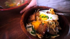 Closeup view of aromatic and delicious fried eggs Stock Footage