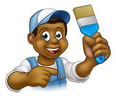 Cartoon Black Painter Decorator Stock Illustration