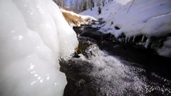 Amazing closeup view of the icy edge and flowing water of the mountain stream. Stock Footage