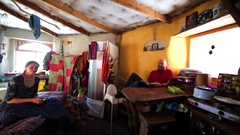 Interior of a cabin where settlers of the Chachzaevka Ecovillage live. Stock Footage