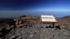 Tenerife, Tourists walk and observe the landscape of volcano Teide Stock Footage