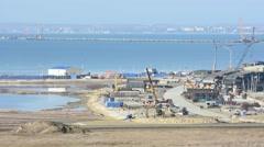 Construction of a bridge across the Kerch Strait Stock Footage