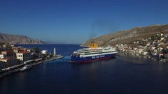 Flying over large ferryboat.Aerial view. Stock Footage
