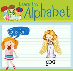 Flashcard letter G is for god Stock Illustration