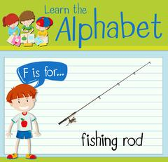 Flashcard letter F is for fishing rod Stock Illustration