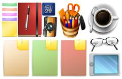 Stationary set with paper and pens Stock Illustration