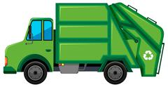 Rubbish truck with recycle sign Stock Illustration