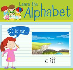 Flashcard letter C is for cliff Stock Illustration
