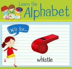 Flashcard alphabet W is for whistle Piirros