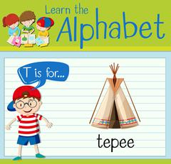 Flashcard letter T is for teepee Stock Illustration