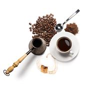Coffee attributes on a white background Stock Photos