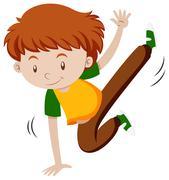 Little boy doing breakdancing Stock Illustration
