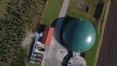 Flying over a biogas plant Stock Footage