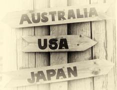 Norway pointer to USA, Japan and Australia vignette Stock Photos