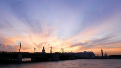 Evening to night time lapse, dark Palace Bridge and Vasilyevsky Island contour Stock Footage