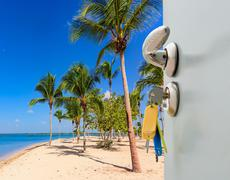 Door open palm beach Stock Photos