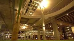 New Terminal of Phuket International Arport. Entrance. Night. Slow Motion Stock Footage