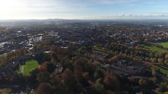 Aerial view of Dudley from above Castle Hill. Stock Footage