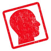 Head Profile Icon Rubber Stamp Stock Illustration