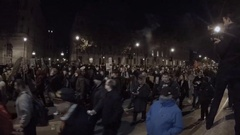 Anonymous Group Million Mask March protestors wearing Guy Fawkes masks Stock Footage
