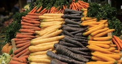 Display of organic vegetables roots at a food market Stock Footage