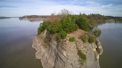 Aerial shot of Tower Rock in the mighty Mississippi RIver Stock Footage