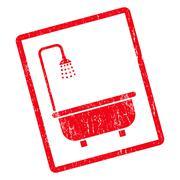 Shower Bath Icon Rubber Stamp Stock Illustration