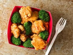 American chinese takeout general tso chicken Stock Photos