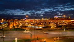 Wide Angle Sunset Over Trafford Centre, Manchester Time-lapse Stock Footage