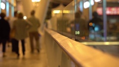 People walking in Airport transit terminal with luggage baggage going on travel Stock Footage