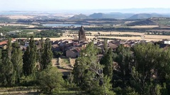 Panoramic views of Loarre, Aragon, Huesca, Spain from atop the village Stock Footage