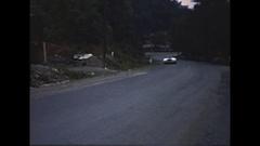 Vintage 16mm film, 1950 Watkins Glen parade lap Le Monstre Cadillac Stock Footage