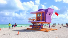 Lifeguard tower in a colorful Art Deco style, Miami beach, South Beach, Florida. Stock Footage