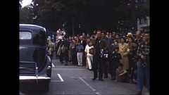 Vintage 16mm film, 1950 Watkins Glen parade POV from member of parade Stock Footage