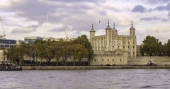 Panning time lapse view of the Tower of London, the oldest building in London Stock Footage