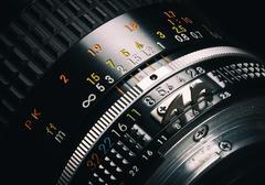 Close up of old camera lens Stock Photos