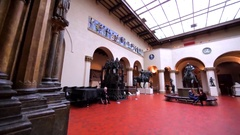 Interior of showrooms in Pushkin State Museum of Fine Arts with exhibit items. Stock Footage